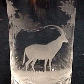 Authentic Vintage Rowland Ward Nairobi Kenya African Big Game etched Antelope Crystal Highball Glass