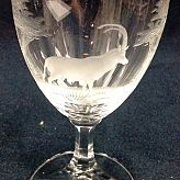 Authentic Vintage Rowland Ward Nairobi Kenya African Big Game etched Antelope Crystal tumbler with stem Glass