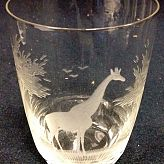 Authentic Vintage Rowland Ward Nairobi Kenya African Big Game etched Crystal Tumbler Glass Giraffe