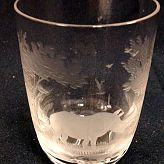 Authentic Vintage Rowland Ward Nairobi Kenya African Big Game etched Crystal Tumbler Glass Rhino