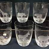 Authentic Vintage Rowland Ward Nairobi Kenya African Big Game etched Crystal wine and tumbler glass collection