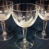 Authentic Vintage Rowland Ward Nairobi Kenya African Big Game etched Crystal Wine Glasses Lion and Antelope