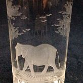 Authentic Vintage Rowland Ward Nairobi Kenya African Big Game etched Elephant Crystal Highball Glass