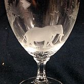 Authentic Vintage Rowland Ward Nairobi Kenya African Big Game etched Elephant Crystal tumbler with stem Glass