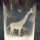Authentic Vintage Rowland Ward Nairobi Kenya African Big Game etched Giraffe Crystal Highball Glass