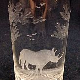 Authentic Vintage Rowland Ward Nairobi Kenya African Big Game etched Rhino Crystal Highball Glass
