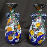 Pair of Japanese Double handle Glazed Ewers